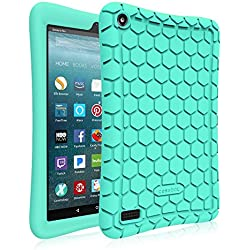 Fintie Silicone Case for All-New Amazon Fire 7 Tablet (7th Generation, 2017 Release) - [Honey Comb Upgraded Version] [Kids Friendly] Light Weight [Anti Slip] Shock Proof Protective Cover, Turquoise