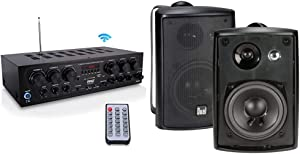 Bluetooth Home Audio Amplifier System - 6 Channel 750 Watt Wireless Home Audio Sound Power Stereo Receiver & Dual Electronics 3-Way High Performance Outdoor Indoor Speakers with Powerful Bass