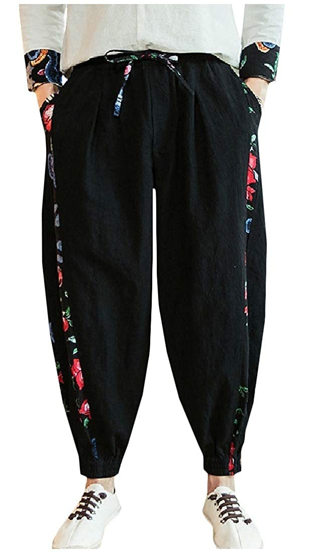 Mfasica Mens Haren Pants Stitching Vintage Linen Beam Foot Elastic Waist Casual Pants