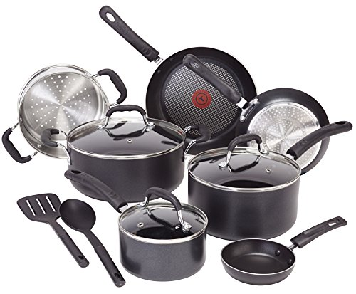 T-fal C515SC Professional Total Nonstick Thermo-Spot Heat Indicator Induction Base Cookware Set, 12-Piece, Black (Sauce Metal Cups)