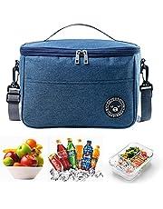Foraco Kylväska vikbar, kylväska liten, vattentät lunchväska, isolerad väska med dragkedja, lätt iväska, picknickväska lämplig för kontor, skola, vandring (marin)