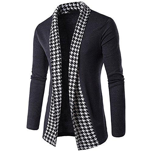 Realdo Men's Patchwork Cardigan Outwear Tops, Formal Casual Slim Long Sleeve Fold Coat(Dark Grey,Medium) (Patterns Free Wool Patons)
