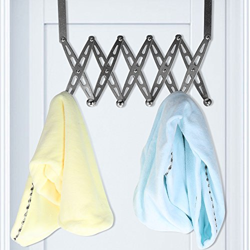 Door Hanger,Stainless Steel Foldable Over Door Hanger Rack Home Bedroom Towel Clothes Scarf Coat Belt Hat Jewelry Hanger Hanging 6 Hook Organizer Rack by Haofy (Image #1)