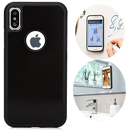 CloudValley iPhone X Case/iPhone Xs Case, Anti Gravity Phone Case Magical Nano Can Stick to Glass, Whiteboards, Tile and Smooth Flat Surfaces for Apple iPhone Xs 5.8 (2018) & iPhone X (2017) [Black]