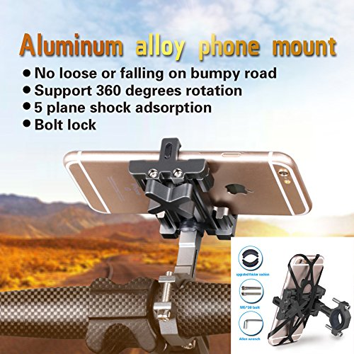 SpoLite Chrome Bike Phone Mount for Motorcycle-Bike-Bicycle Handlebars,Adjustable,Bike Phone Holder Fits Cell Phone iPhone X,8|8 Plus,7|7 Plus,6s|6s Plus,Galaxy S7,S6 For Cycling. (BM04 Black) by SpoLite (Image #9)