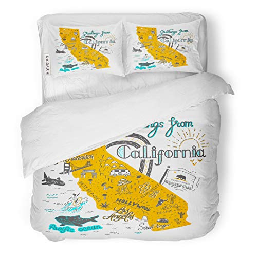 Semtomn Decor Duvet Cover Set Twin Size San of California Map Tourist Attractions Travel Flag Francisco 3 Piece Brushed Microfiber Fabric Print Bedding Set Cover -