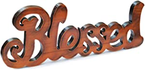 Blessed Cutout Wood Sign Home Décor Wall Art Decor Rustic Farmhouse Rustic Home Gallery Wall Decor 15.5 Inch