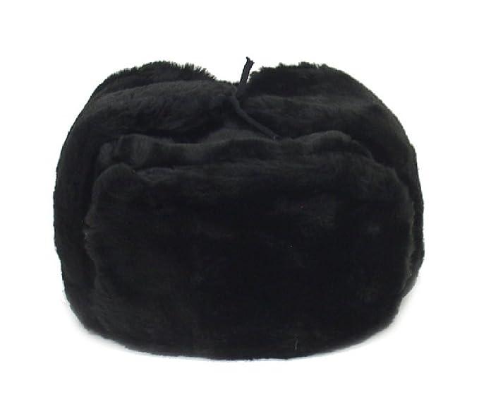 Russian Winter Hat  Shapka-Ushanka BLACK Size XXL (metric 64) f7a1ea7c406
