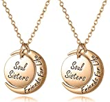 Best Friends Jewelry Gifts for 2 - Set of 2 ''Soul Sisters Friends for Life'' Matching Necklaces, Unique Friendship Jewelry Gifts Best Friends Forever, BFF, Besties, Women, Teens (Set of 2 Rose Gold)