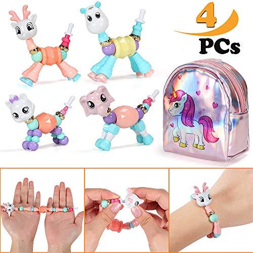Qunan Twist Magic Pets Bracelet 4 Pcs Kitty Elephant Deer Giraffe Bracelet Set with Unicorn Coin Purse Gift for Kids Girls (Coin Elephant Set)