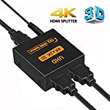 HDMI Splitter 4K HDCP V1.4 Powered HDMI Splitter 1X2 HDMI Splitter for Full UHD 4K 1080P Support 4K/2K and 3D Resolution (One Input to Two Outputs)