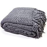 "Luxury Chunky Chenille Knitted Sofa / Bed Throw Blanket in 7 Colours & 4 Sizes (152cm x 203cm (60"" x 80""), Charcoal Grey)"