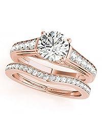 TVS-JEWELS 1 CT. T.W. Diamond Engagement Ring Set 14k Rose Gold Engagement Ring W/ Diamond Wedding Band, Bridal Ring Set