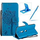 Strap Leather Case for Sony Xperia XZ3,[Blue Solid Color] Stand Flip Case for Sony Xperia XZ3,Herzzer Premium Elegant [Embossed Butterfly Tree Cat Painted] Fold Wallet Folio Smart Case