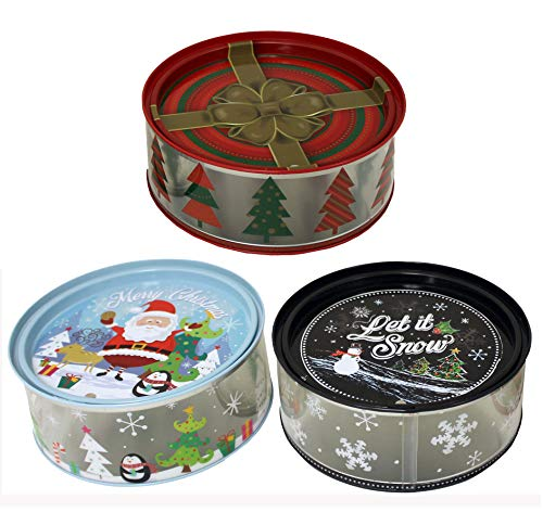 - Holiday Clear Cookie Tins with Lid (Pack of 3)