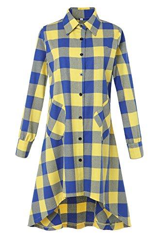 Olrain Womens New Plaids Irregular Hem Casual Shirt Dress XX-Large Yellow (Yellow Casual Dress)