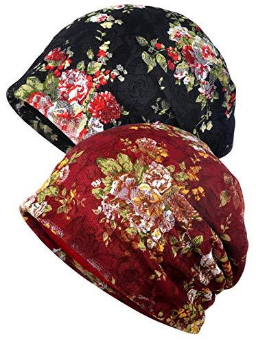 Qunson Women's Floral Lace Baggy Slouchy Beanie Chemo Hat Cap (2 -