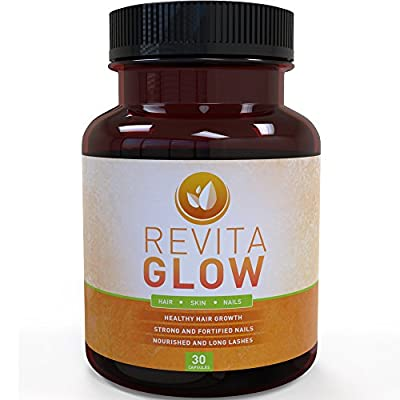 Revita Glow Biotin Supplement | Vitamins for Hair Growth | Promotes Healthy Skin & Nails | B-Vitamin to Support Metabolism & Increase Energy | Maximum Strength 3,000mcg Capsules | 30-Day Supply