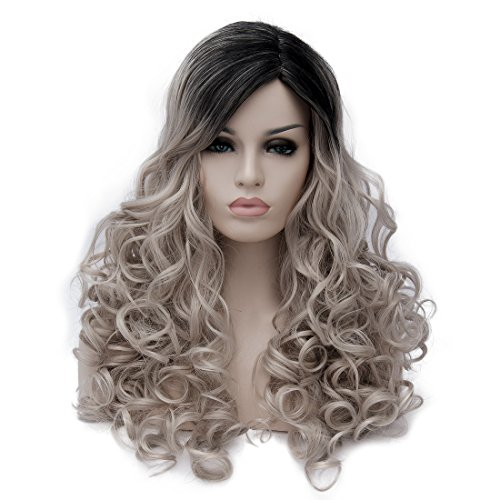 Max beauty Multi Color Light Flaxen Mixed Black Long Curly Wave Full Wigs Costume Party Amine Cosplay Halloween Wigs Ombre Wigs For Women Heat Resistant Fiber Hair with Free Cap (60cm, Multi brown3)