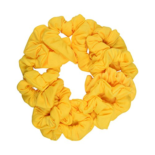 (12 Pack Solid Hair Ties Scrunchies - Yellow)