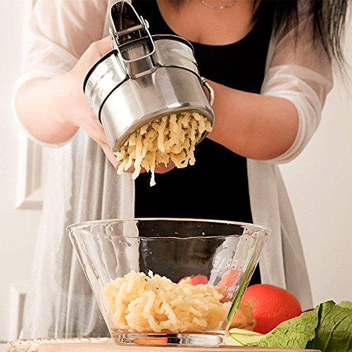 JmeGe Potato Ricer/Fruit and Vegetables Masher Food Ricer Large Capacity 420ml-100% Stainless Steel with 3 Interchangeable Ricing Discs