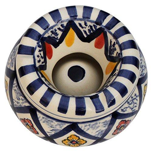 Benzara SouvNear marroquí cenicero redondo de cerámica con tapa bandeja de cenizas