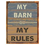 Cheap Wood-Framed My Barn My Rules Metal Sign, Stable, Rustic Décor, Cowboy,Ranch on reclaimed, rustic wood