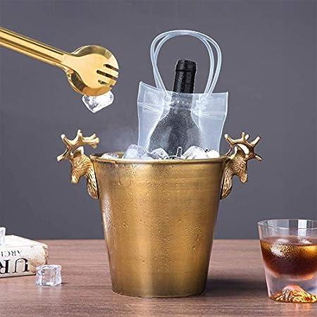 2 Piezas Bolsa de Hielo para Vino, Bolsa de Hielo a Prueba de Fugas de Pvc, Bolsa de Hielo Transparente para Vino, Adecuado para Champán, Cerveza Fría, Vino Blanco(Con Asa, Transparente)