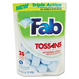 Fab Toss Ins, Packets, 4 per Carton - 20 packets of laundry detergent.
