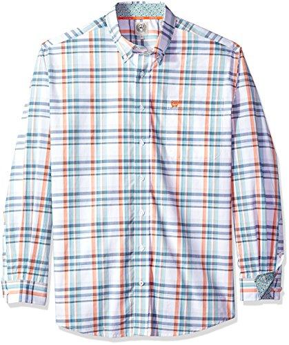Cinch Men's Classic Fit Long Sleeve Button One Open Pocket Plaid Shirt, White/Orange/Blue, XXL (Cinch Mens)