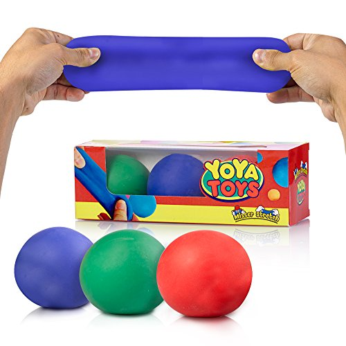 Best Price! Pull, Stretch & Squeeze Stress Balls by YoYa Toys - 3 Pack - Elastic Construction Sensor...