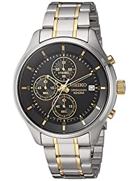 Seiko Men's Amazon Exclusive Quartz Stainless Steel Casual Watch, Color:Two Tone (Model: SKS555)