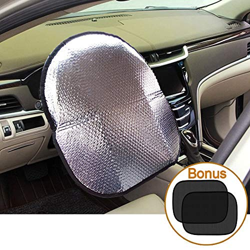 Big Ant Steering Wheel Cover Sun Shade + Bonus Cling Side Window Sunshade-Heat Reflector Fit Most Jumbo/Standard Car-Sliver (20.1