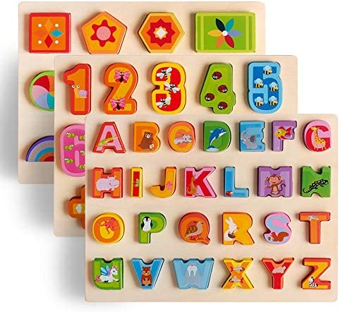 UMTOY Wooden Puzzles for Toddlers Alphabet Number Shape Puzzles Toddler Learning Puzzle Toys for Kids boy and Girls Set 3 in 1 Puzzle for Toddlers Age 3+