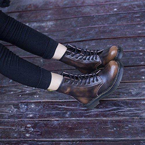 Blancos EUR35 negro Mujer Botas Martin Mujer Pequeños Locomotora Botas de Mujer Cinturón Británica Zapatos Botas Plano Zapatos aqxZORSFw