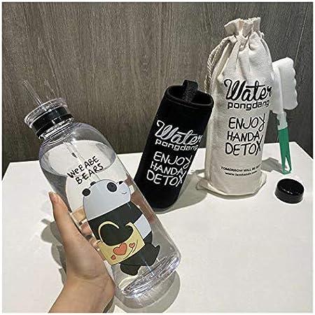 Botella de agua de plástico transparente de 1000 ml con dibujos animados y helado, botella de agua marrón (capacidad: 1000 ml, color: 7 paquetes 2)
