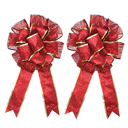 certainPL 2 Pack Large Christmas Bow Red Gold Bowknot Bouquet Wreath Handcraft Ornamentation -