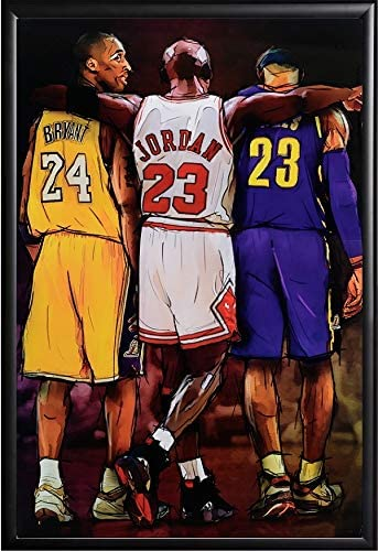 Michael Jordan Kobe and James Legends Fan Tribute Poster Framed (Black)