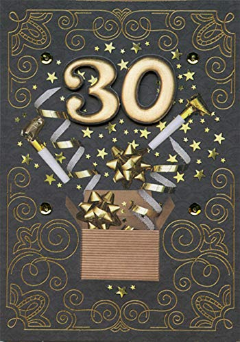 Designer Greetings Tip on 30 with Gold Foil Swirls on Black Hand Decorated Keepsake Age 30 / 30th Birthday Card