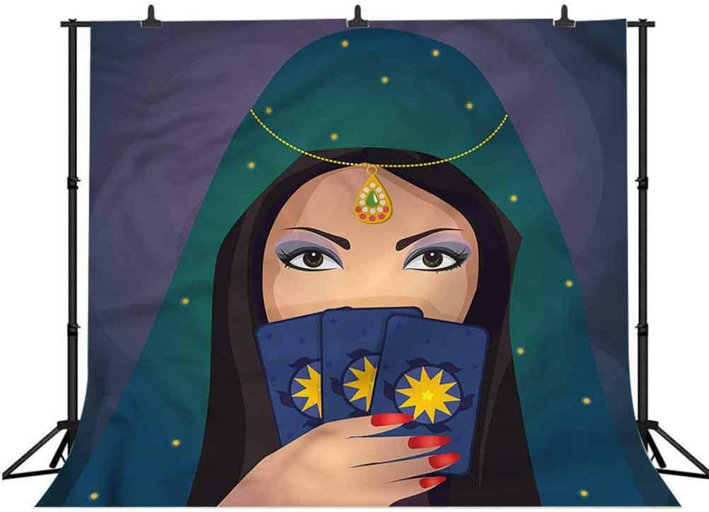5x5FT Vinyl Photo Backdrops,Gypsy,Fortune Teller Woman Figure Photo Background for Photo Booth Studio Props