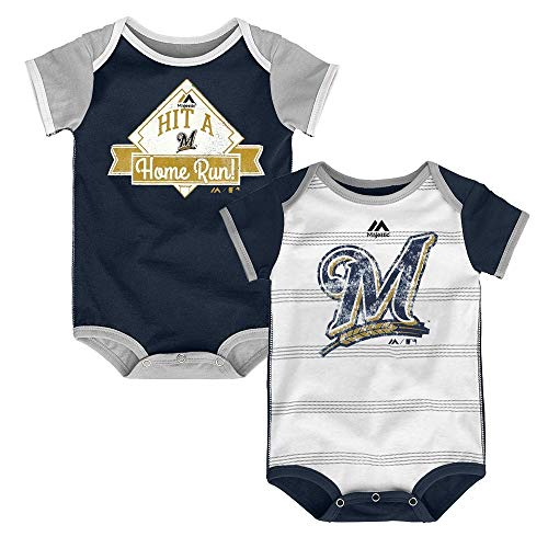 Outerstuff Milwaukee Brewers MLB Majestic Infant Good O' Baseball 2 Piece Creeper Set (Baseball Milwaukee Brewers White)