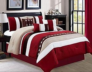 Luxlen 7 Piece Luxury Bed in Bag Comforter Set, Oversized, Burgundy, Queen