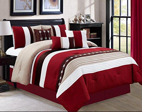 Luxlen 7 Piece Luxury Bed in Bag Comforter Set, Oversized, Burgundy, Cal King ()