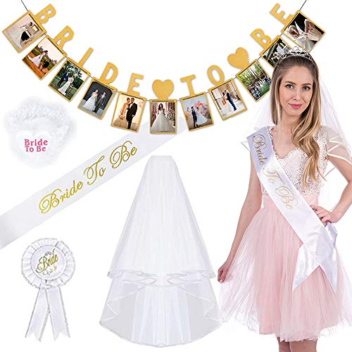 Hen Party Decoration Supplies,MMTX Bridal Wedding Party with Bride Veil,Sash,Lace Garter,Rosette Badge and Banner 5 pcs Accessories for Bachelorette Party Bridal Shower Hen Night Party]()
