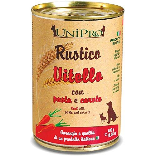 RUSTICO Piel becerro zanahoria pasta marrón y húmedo gr 400 Comida mojado perro