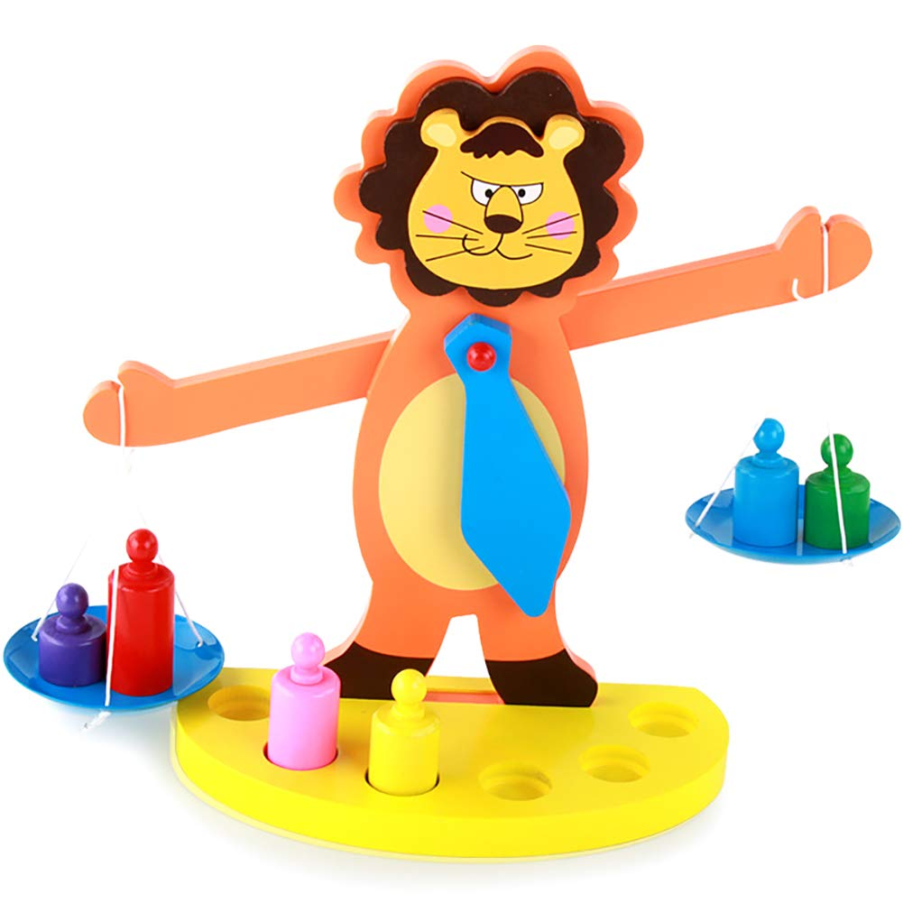 Cartoon Lion Multicolor Balance Scale Weight Math Learning Kid Educational Toy,Preschool Kid Education -Boy Girl Baby Toddler - Learning Kit - Educational Idea Three Four Five Year Old by FTHY-TOYS