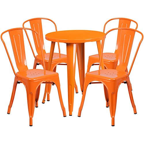 Brimmes 5-pcs Table Set Round 24'' Orange w/4 Cafe Chairs - 24' Round Bistro Table