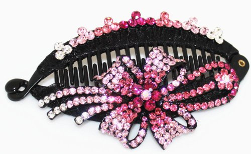 Banana Clip: Ribbon Design with Beautiful Crystals - Fuchsia Pink ()