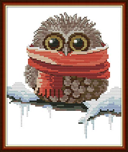 Full Range of Embroidery Starter Kits Stamped Cross Stitch Kits Beginners for DIY Embroidery (Multiple Pattern Designs) - Owl with a Scarf