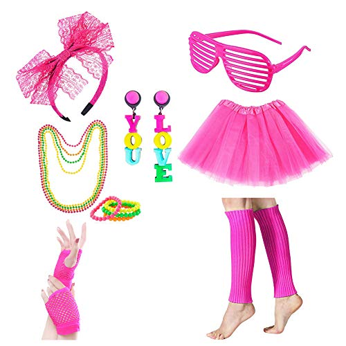 Icevog Womens Girls 80s Costume Accessories Set 90s Fancy Outfit for Disco Party Tutu Skirt Headband Gloves Leg Warmer Rose Red -